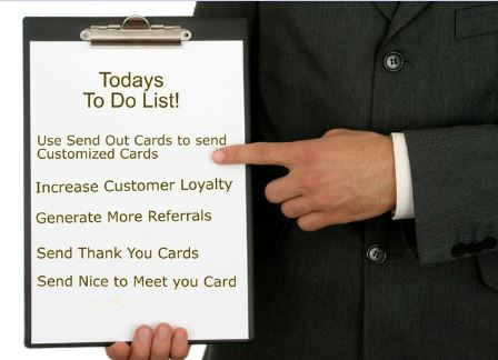 Send out cards for prospecting and thank you's
